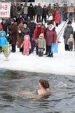 游泳者冬天妇女 免版税库存照片