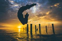 游泳者的剪影 图库摄影