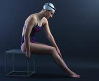 游泳者的画象 图库摄影