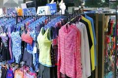 游泳衣在台北体育衣物商店 免版税库存照片