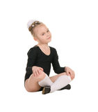 黑游泳衣训练的芭蕾舞女演员 图库摄影
