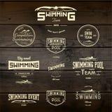 游泳证章商标和标签其中任一的用途 免版税库存照片