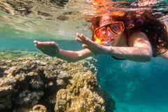游泳面具下潜的女孩在珊瑚礁附近的红海 免版税图库摄影