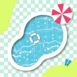 游泳顶视图的池 休息时间 夏天 免版税库存图片