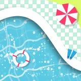 游泳顶视图的池 休息时间 夏天 免版税图库摄影