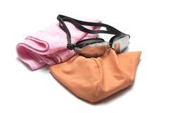 游泳风镜和毛巾 库存图片