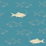 游泳鱼的无缝的样式与泡影的 库存照片