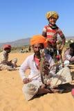 游牧人戏剧ravanahatha在沙漠 库存图片