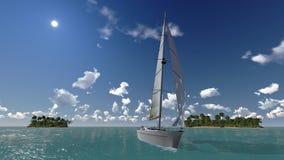 游艇、海和热带海岛 免版税库存照片
