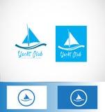 游艇乘快艇的小船船商标 图库摄影