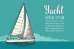 游艇俱乐部的水平的海报与文本模板 传染媒介板刻 库存例证