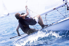 游艇况赛在地中海 免版税库存图片
