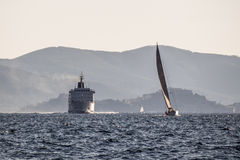 游艇和划线员 免版税库存照片