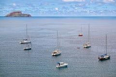 游艇在大西洋, Terceira,亚速尔群岛 免版税库存照片