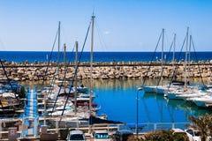 游艇在小游艇船坞,赫兹里亚,以色列 库存照片