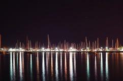 游艇在晚上 免版税库存图片