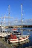 游艇在海滨广场在弗利特伍德, Lancashire,英国。 免版税图库摄影