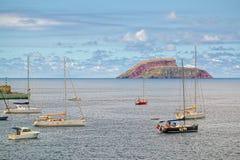 游艇在海洋, Terceira,亚速尔群岛 库存图片