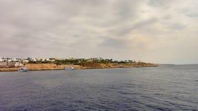 游艇在港口Sharm El谢赫,埃及 库存照片