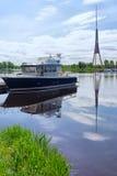 游艇在里加停泊 免版税库存图片