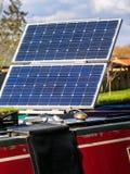 游艇太阳电池板-清洁能源 图库摄影
