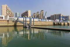游艇小游艇船坞和修理植物 免版税库存图片