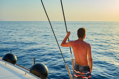 游艇的人 免版税库存图片