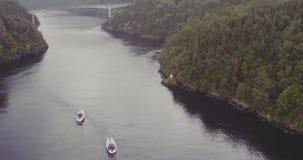 游艇航行跨接在海湾林业多小山银行 影视素材