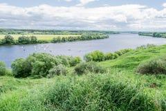 游艇赛船会河Oka莫斯科地区 库存图片