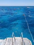 游艇钢栏杆梯子  潜航在海洋,人们在礁石海漂浮 免版税库存照片