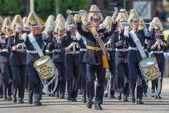 游行与开始队伍的军队音乐军团。2013年6月8日 免版税库存照片