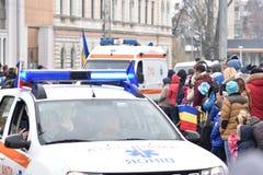 游行在一个全国事件的救护车 免版税图库摄影
