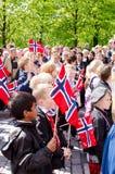 游行在第17的奥斯陆可以 免版税库存图片