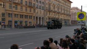 游行排练对一胜利天的庆祝的在莫斯科 股票视频