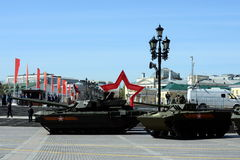 游行排练以纪念胜利天在莫斯科 免版税库存图片