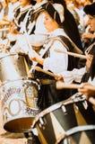 游行的中世纪鼓手 免版税库存照片