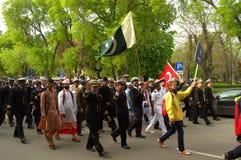 游行的巴基斯坦海员 免版税库存照片