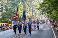 游行的年轻ROTC新兵 库存照片