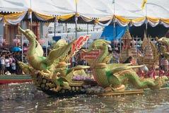 游行磨擦Bua节日(莲花投掷的节日)在泰国 免版税库存照片
