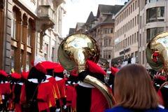 游行,狂欢节在巴塞尔,瑞士 库存照片