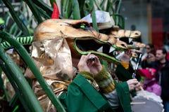游行,狂欢节在巴塞尔,瑞士 图库摄影