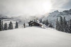 游览在阿尔卑斯的滑雪 免版税库存图片