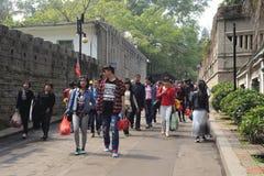 游览小组参观gulangyu风景区 免版税图库摄影