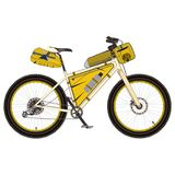 游览有bikepacking的齿轮平的传染媒介例证的自行车 库存图片