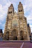 游览的大教堂在卢瓦尔河流域安德尔省和卢瓦河  免版税库存照片