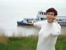 游览船妇女 免版税库存照片