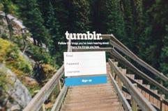 游览,法国- 2014年6月17日:Tumblr网页照片在moni的 免版税库存照片