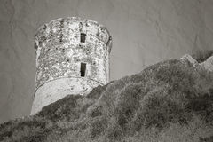 游览Parata 古老热那亚人的塔,可西嘉岛 库存图片