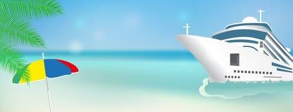 游轮一路平安 海报或横幅模板横渡大西洋的划线员船 向量 库存例证