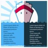 游轮划线员在蓝色海 也corel凹道例证向量 免版税图库摄影